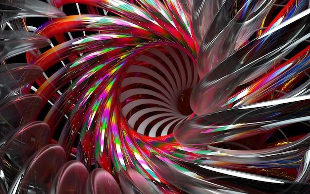3d geef van abstracte 3d bloem of turbinemotor terug met scherpe bladen in glasmateriaal en delen met rode gradiëntkleur op zwarte achtergrond