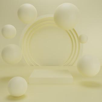 3d geef van abstracte achtergrondsamenstelling terug met podium