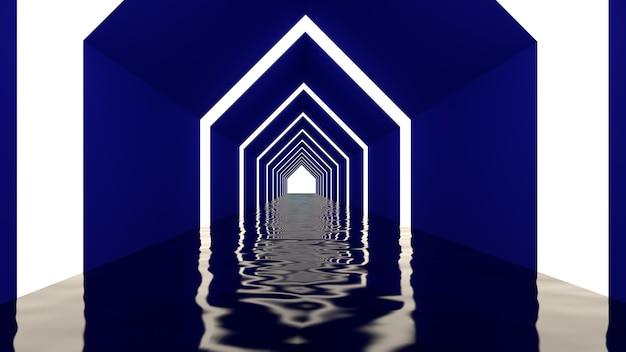 3d geef van abstracte driehoeksvorm terug op tunnelachtergrond