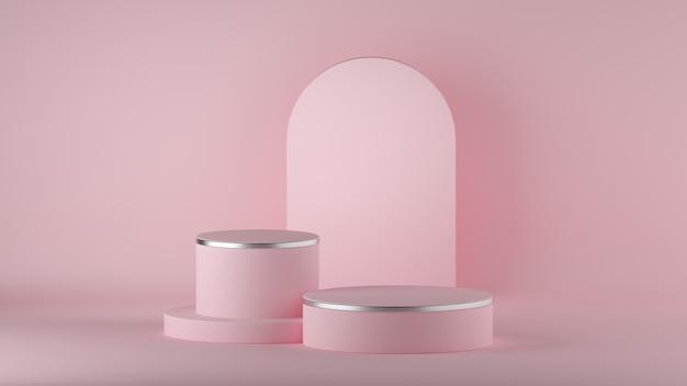3d geef van abstracte minimale moderne roze achtergrond met het lege podium van de cilindermanier terug.