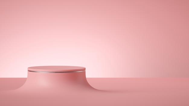 3d geef van abstracte minimale roze achtergrond met leeg cilinderpodium of rond stadium terug.