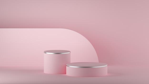 3d geef van abstracte roze minimale achtergrond terug. leeg cilinderpodium.