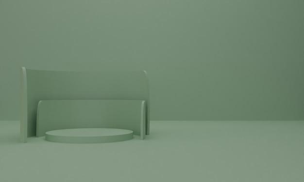 3d geef van abstracte samenstelling als achtergrond met podium terug.