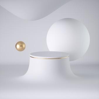 3d geef van abstracte witte futuristische drijvende ballen terug