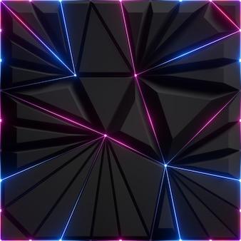 3d geef van abstracte zwarte gefacetteerde achtergrond met roze blauwe gloeiende neonlijnen terug