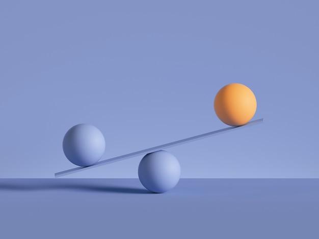 3d geef van ballen terug die op geïsoleerde schalen worden geplaatst