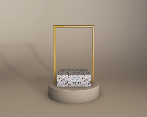 3d geef van beige studio en terrazzoproductstadium terug met gouden kader. trendy kleuren