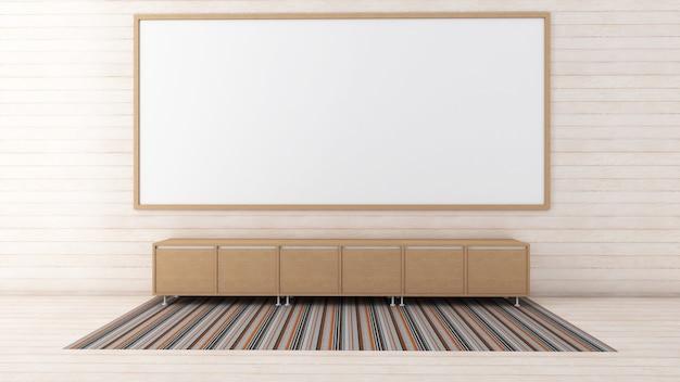 3d geef van binnenlands woonkamermodel, tapijt en laag kabinet terug
