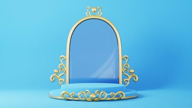 3d geef van blauw en gouden podium met spiegel terug