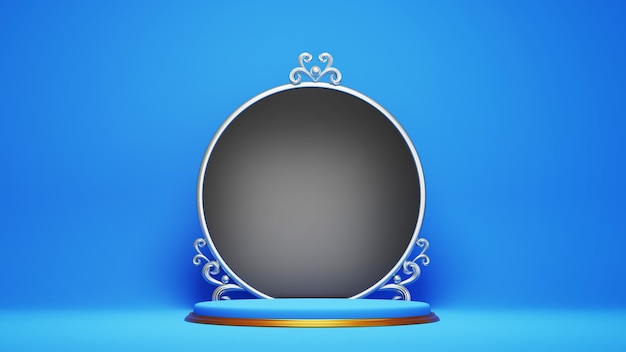 3d geef van blauw en gouden podium met zwarte cirkelraad terug