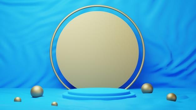 3d geef van blauw en gouden podium terug