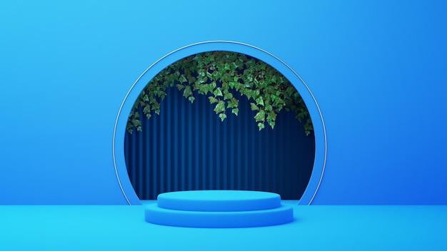 3d geef van blauw podium met boog en bladeren terug