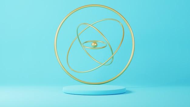 3d geef van blauw podium met gouden cirkels terug die draaien en drijven