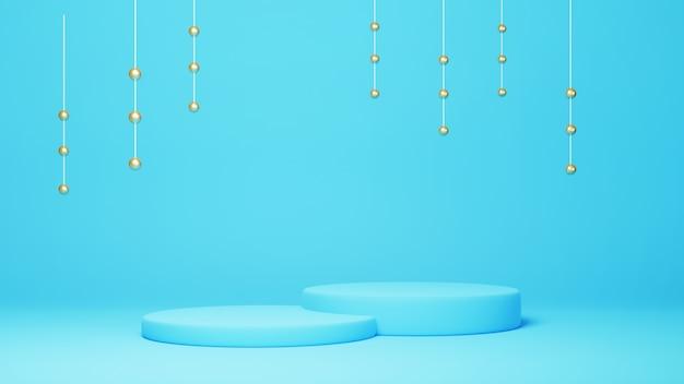 3d geef van blauw podium met gouden hangende bollen terug