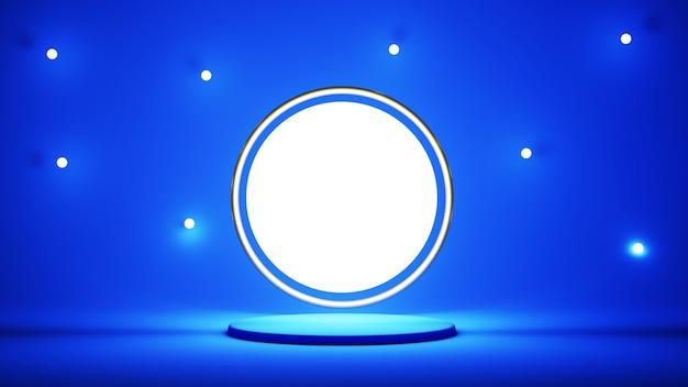 3d geef van blauw podium met lichte cirkel terug