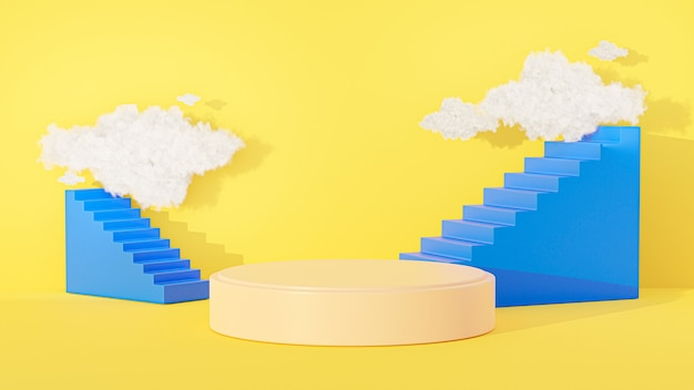 3d geef van cilinderpodium terug met abstracte achtergrond, wolkenhemel, trap voor productvertoning