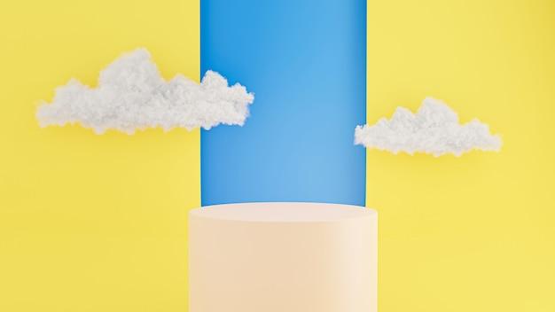 3d geef van cilinderpodium terug met abstracte achtergrond, wolkenhemel voor productvertoning