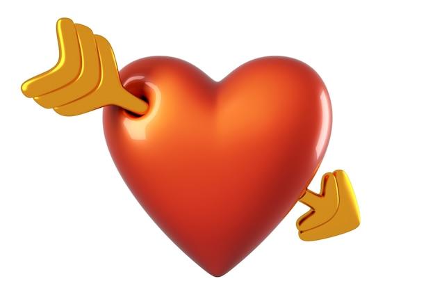 3d geef van de pijlvorm van het cupido-hart terug die op witte achtergrond wordt geïsoleerd.