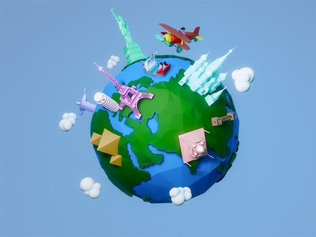 3d geef van de planeet met architecturale oriëntatiepunten van de wereld terug