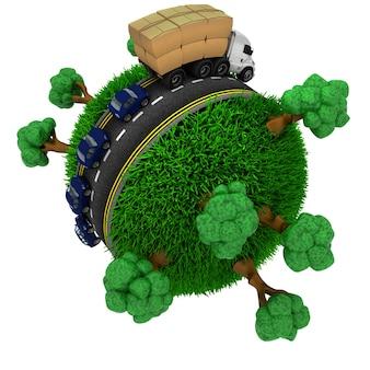 3d geef van de weg rond een met gras begroeide bol