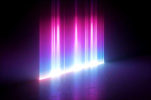 3d geef van digitale illustratie met abstracte neon en verticale gloeiende lijnen terug