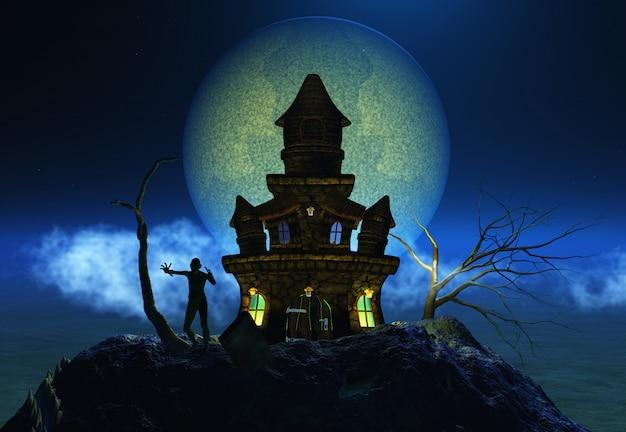 3d geef van duivels cijfer op een achtergrond van halloween terug