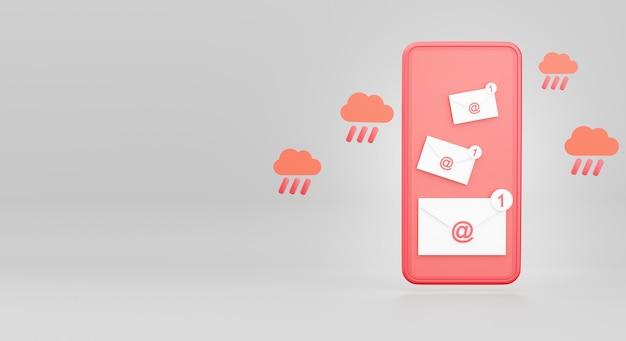 3d geef van e-mail of elektronische envelop op smartphoneconcept terug