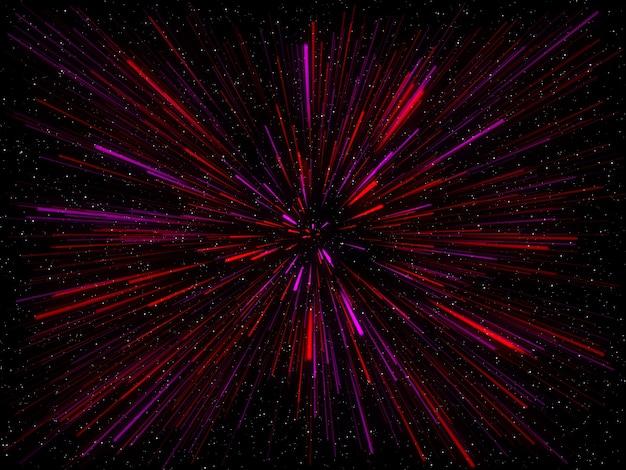 3d geef van een abstracte ruimteachtergrond met het effect van de scheringstunnel terug