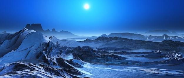 3d geef van een besneeuwde landschap fantasy