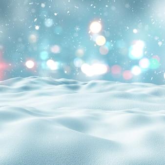 3d geef van een besneeuwde landschap met bokeh lichten