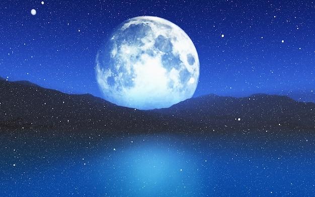 3d geef van een besneeuwde landschap met een maanverlichte hemel