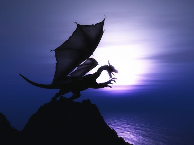 3d geef van een fantasie draak op een rots tegen een zonsondergang op de oceaan