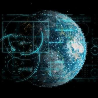 3d geef van een globale technologie en netwerkcommunicatieachtergrond terug