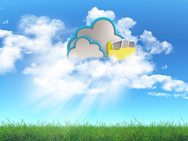 3d geef van een gras landschap met een cloud storage-concept