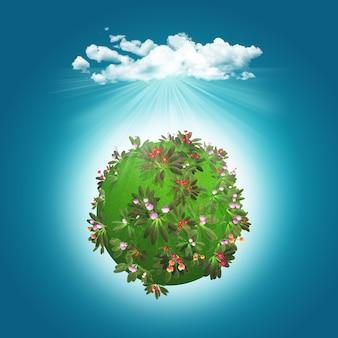3d geef van een grasrijke bol met bloemen en wolk terug