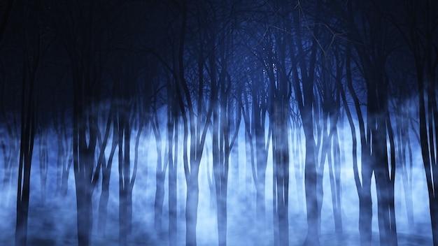 3d geef van een griezelig mistig bos