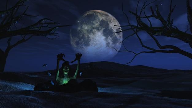 3d geef van een griezelige halloween achtergrond met zombie losbarsten uit de grond