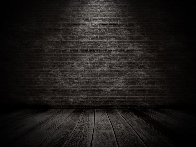 3d geef van een grungebinnenland terug met bakstenen muur en oude houten vloer