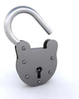 3d geef van een hangslot en sleutel