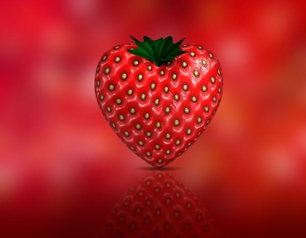 3d geef van een hartvormige aardbei