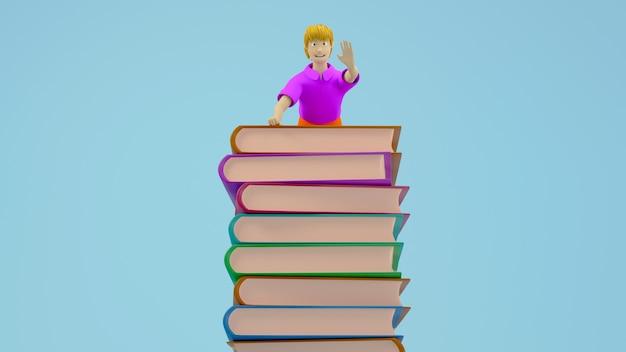 3d geef van een jongen terug die vanaf de bovenkant van een stapel boeken op blauwe achtergrond, onderwijsconcept zwaait