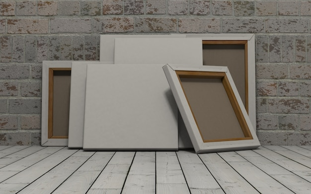 3d geef van een leeg canvas op bakstenen muur