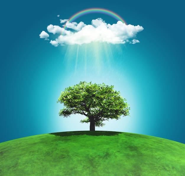3d geef van een met gras begroeide gebogen landschap met een boom regenboog en regenwolk
