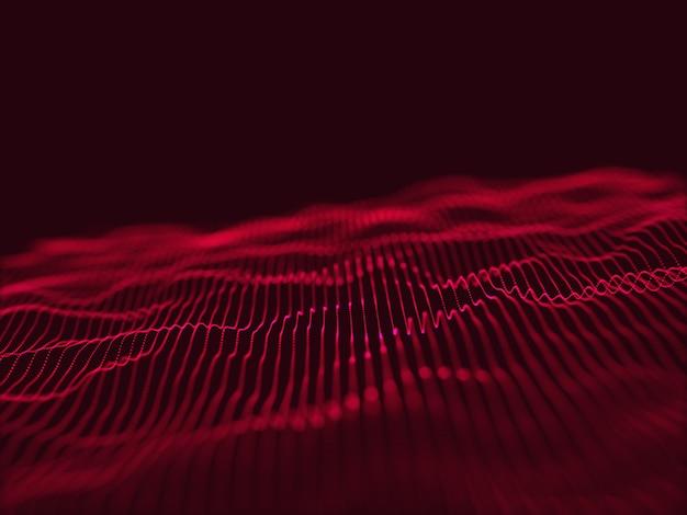 3d geef van een moderne techno met stromend deeltjesontwerp terug