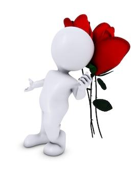 3d geef van een morph man met roos