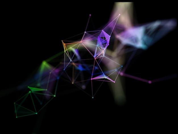 3d geef van een netwerkverbindingen met plexusontwerp terug