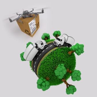3d geef van een quadcopter drone met pakket vliegen over het gras wereldbol met vrachtwagens