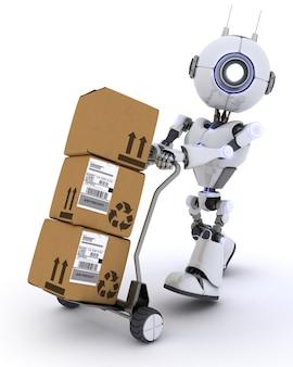 3d geef van een robot met scheepvaart dozen