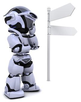 3d geef van een robot op een wegwijzer