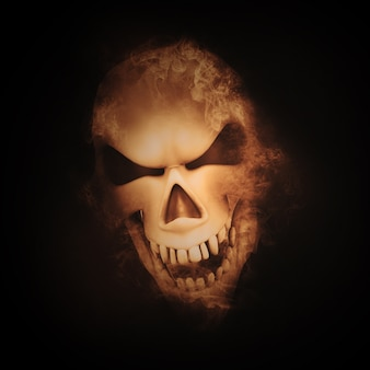 3d geef van een schedel met rook effect